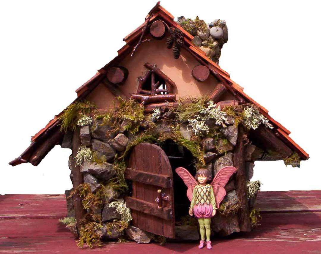 Davine fairy house large view for Diy stone birdhouse