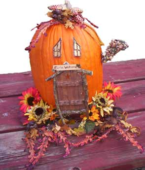 Fairy House Sets on a Pumpkin
